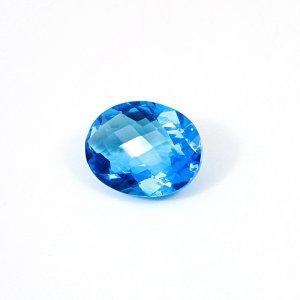 Ink Blue Hydro 31.25 Cts Oval Checker Cut 25x20mm Loose Gemstone