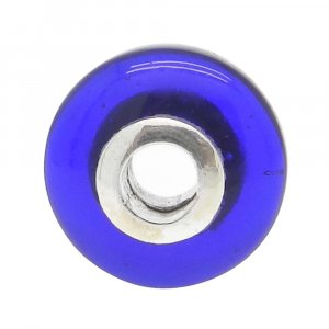 Ink Blue Hydro Big Hole Roundel Smooth Plain Silver Core Beads 14x8x3.5mm 13.00 Cts