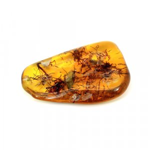 Insect Amber Uneven Tumble 62x38mm 116.35 Cts Drilled Gemstone For Pendant Making