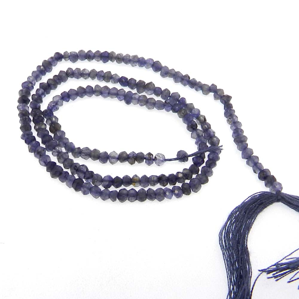 Iolite 3mm Roundel Facet 14 inch Strand Beads