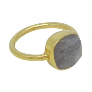 Labradorite 10x10mm Cushion 925 Silver With Gold Plated Bezel Set Ring