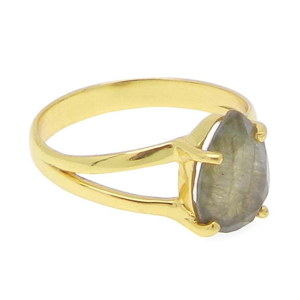 Labradorite 10x7mm Pear 18k Gold Plated Silver and 925 Sterling Silver Prong Set Ring