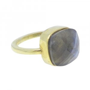 Labradorite 11x11mm Cushion 925 Silver With Gold Plated Bezel Set Ring
