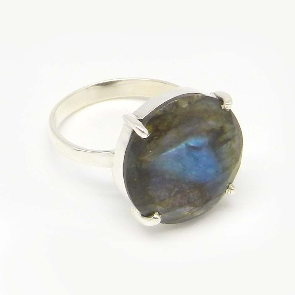 Labradorite 16mm Round 18k Gold Plated Silver Prong Set Ring