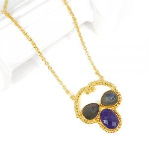 Labradorite Amethyst 21 Inch 18K Gold Plated Designer Chain Necklace