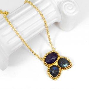 Labradorite Amethyst 22 Inch 18K Gold Plated Designer Chain Necklace