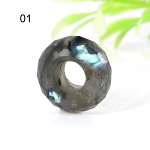 Labradorite Big Hole Roundel Faceted Troll Beads 14x8x5.5mm