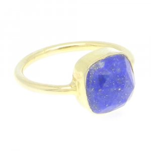 Lapis Lazuli 11x11mm Cushion 925 Silver With Gold Plated Bezel Set Ring