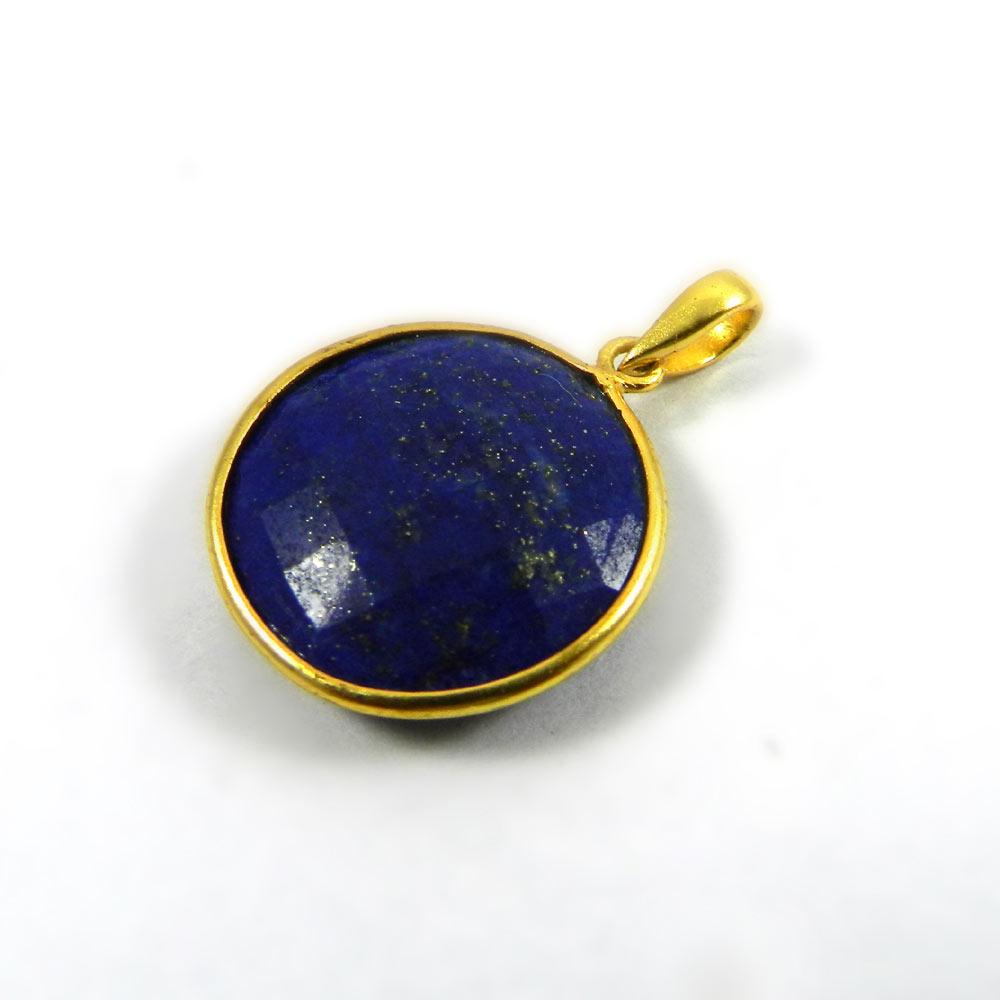Lapis Lazuli 31mm 18k Gold Plated Plated Bezel Pendant