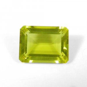 Lemon Green Gold 20x15mm Octagon Baguette Cut 19.65 Cts