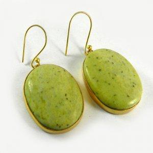 Lemon Jasper 18k Gold Plated Bezel Earring