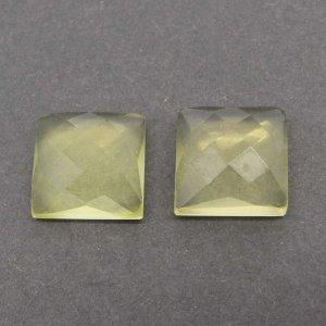 Lemon Quartz 10x10mm Square Checkerboard Cut Cab 5.15 Cts