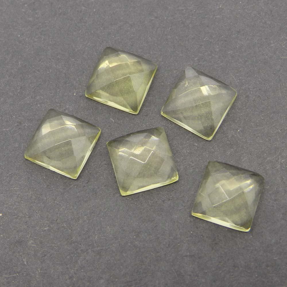 Lemon Quartz 8x8mm Square Checkerboard Cut Cab 2.4 Cts