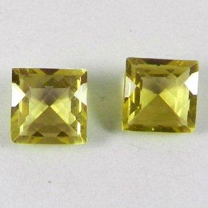 Lemon Quartz Square 10x10mm Checker Cut 4.7 Cts