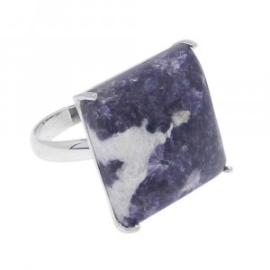 Lepidolite 18X18mm Square 925 Silver Prong Set Ring