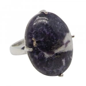 Lepidolite 22x17mm Oval 925 Silver Prong Set Ring