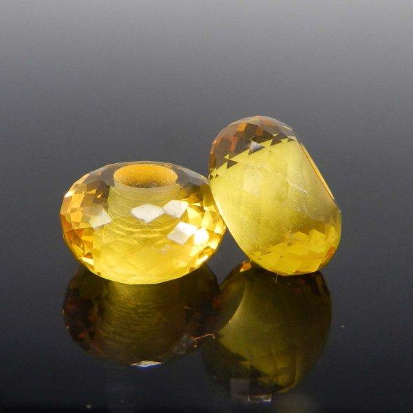 Light Citrine Hydro 14x8x5mm Roundel Facet Beads