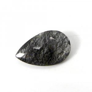 Loose Gemstone Black Ruitle Quartz 25x16mm Pear Checker Cut 17.30 Cts
