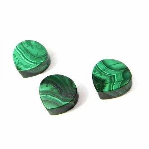 Malachite 10x10mm Heart Flat Cabochon 6.33 Cts