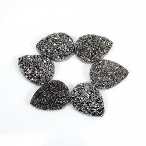 Marcasite Coated Druzy 20x15mm Pear Flat 11.30 Cts