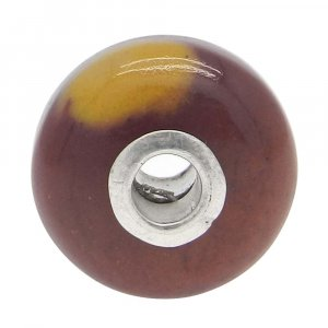 Mookaite Jasper Big Hole Roundel Smooth Plain Silver Core Beads 14x8x3.5mm 14.60 Cts
