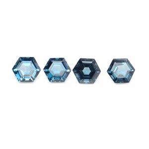 4 Pcs Natural London Blue Topaz 8x8mm Hexagon Cut 11.50 Cts