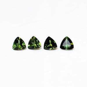 4 Pcs Natural Green Tourmaline 5x5mm Trillion Cut 1.90 Cts