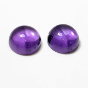 1 Pair Natural African Amethyst 12mm Round Cabochon 14.15 Cts