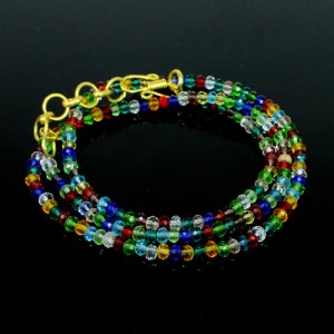 Multi Glass Beads Necklace Brass 18K Gold Plated 16.13 Gram 4mm 11 Inch