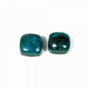 Natural 1 Pair Chrysocolla Gemstone Cushion Cabochon 10x10mm 10.75 Cts