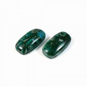 Natural 1 Pair Chrysocolla Gemstone Cushion Cabochon 10x20mm 21.30 Cts