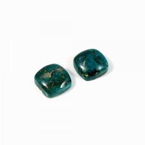 Natural 1 Pair Chrysocolla Gemstone Cushion Cabochon 24.80 Cts 12x12mm