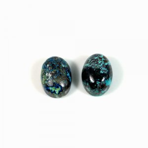 Natural 1 Pair Chrysocolla Gemstone Oval Cabochon 10x14mm 15.9 Cts