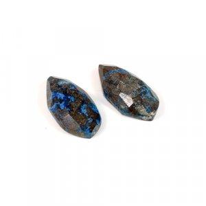 Natural 1 Pair Chrysocolla Gemstone Pear Checker 30.7 Cts 11x24mm