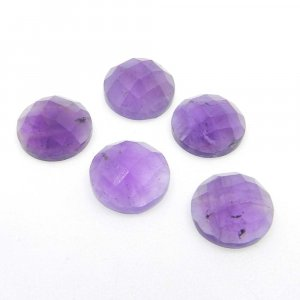 Natural African Amethyst 10mm Round Checkerboard Cut 3.45 Cts