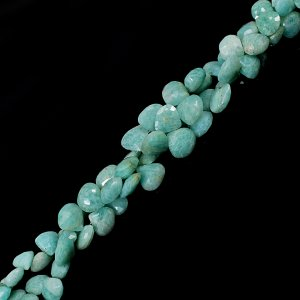 Natural Amazonite 12-16mm Heart Briolette Cut Beads 8 Inch Strand