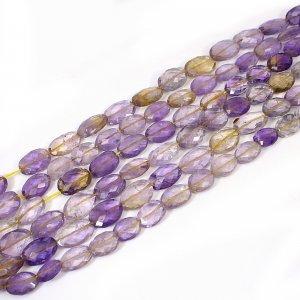 Natural Ametrine 10-18mm Oval Briolette Cut Beads 16 Inch Strand