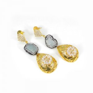 Natural Aquamarine Rough Gold Plated Wholesale Wedding Earring