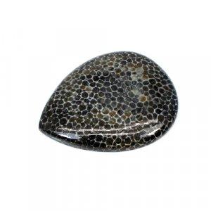 Natural Black Coral Pear Cabochon 32.65 Cts 34x27mm Loose Gemstone