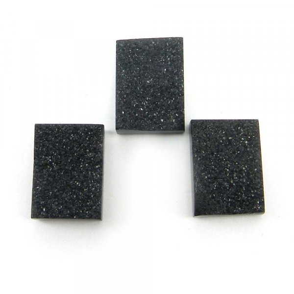 Natural Black Druzy 13x18mm Rectangle 13.3 Cts