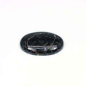 Natural Black Tourmaline 28x20mm Oval Cabochon 30.25 Cts Loose Gemstone