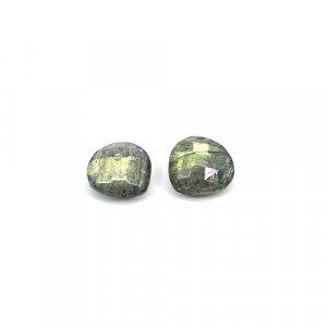 Natural Blue Fire Labradorite 10mm Heart Briolette Cut 6.05 Cts 1 Pair Loose Gemstone