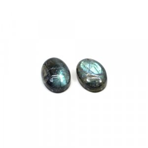 Natural Blue Fire Labradorite 14x10mm Oval Cabochon 12.1 Cts 1 Pair Loose Gemstone
