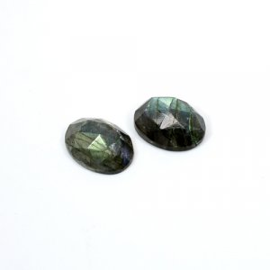 Natural Blue Fire Labradorite 16x12mm Oval Rose Cut  16.8 Cts 1 Pair Loose Gemstone