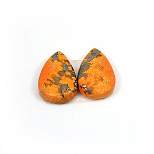 Natural Bumble Bee 20x12mm Pear Cabochon 14.40 Cts 1 Pair Loose Gemstone