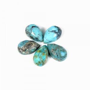Natural Chrysocolla Gemstone Pear Checker 8x13mm 4.15 Cts