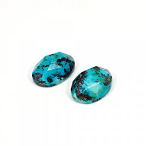 Natural Chrysocolla Oval Rose Cut 18x13mm 22.05 Cts 1 Pair Loose Gemstone
