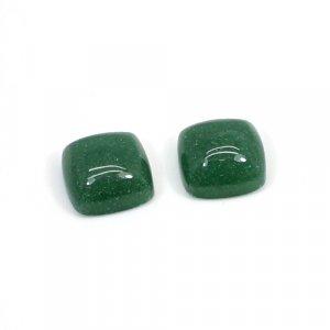 Natural Dark Green Aventurine 10mm Cushion Cabochon 9.45 Cts 1 Pair Loose Gemstone