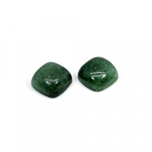 Natural Dark Green Aventurine 10mm Cushion Cabochon 9.60 Cts 1 Pair Loose Gemstone