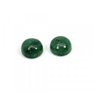 Natural Dark Green Aventurine 10mm Round Cabochon 9.20 Cts 1 Pair Loose Gemstone